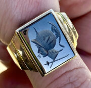 Victorian 10k Solid Gold Carved Hematite Cameo Soldier Roman Mens Ring Sz 10