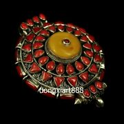 Tibet Pure Silver Inlay Coral Beeswax Niche For A Statue Of The Buddha Pendants