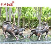 55 Cm Chinese Zodiac Fengshui Animal Bronze Ox Oxen Bull Wealth Animal Statue