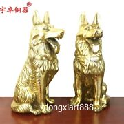 35 Cm Pure Brass Chinese Zodiac Animal Lucky Wealth Money Fengshui Dog Statue