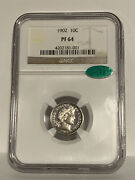 1902 Proof 64 Cac Green Bean Barber Dime - Ngc Graded