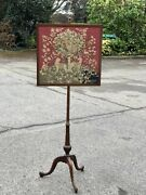 Antique Fire Screen With Tapestry, Fully Height Adjustable