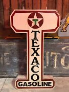 Large Vintage Texaco Gas Station Old Advertising Sign Double Sided
