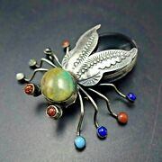 Herbert Ration Navajo Sterling Silver Hematite And Turquoise Spider Pin/brooch