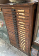 Antique 20 Drawer Hamilton Typeset Cabinet 42 Tall - Rare Great Condition