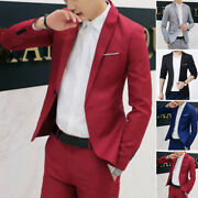 Men Suit Business Casual Coat Formal Blazer One Button Slim Fit Jackets Tops New