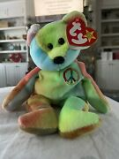 Rare Ty Beanie Baby Peace Bear Original Collectible With Multiple Tag Errors