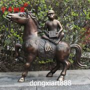 59 Cm Pure Bronze Chinese Zodiac Animal Monkey Ride Equine Horse Steed Sculpture