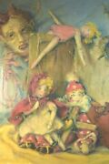 Roslyn Starr Surrealist Mid Century Painting Of Dolls And Devil