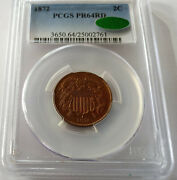 ✰ 1872 Proof Us 2 Cent 2c Gem Choice Coin Pcgs Pr64rd Cac Approved Lovely Red ✰