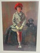 Art Deco Oil Painting Andndash Girl And Dog By H. J. Pearson R.b.a.