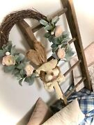 Handmade Wooden Easter Wreath Bunnycute Decor Unique Free Shipping