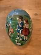 Vintage Paper Mache Easter Egg Candy Container - Bunny Basket Eggs Chick