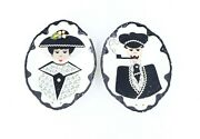 Antique Early 1900s Custom Made Husband And Wife Hanging Wall Plates Ceramic Usa