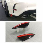 Color Black + Middle Red Line For Benz Cla W117 C117 Flaps Rear Fin 2pcs