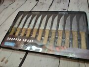 Sharper Image 12 Pc Bbq Steak Knife Set New Wood And Stainless Steel Serrated Edge