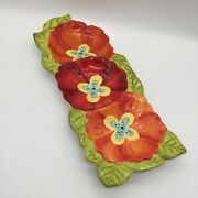 Laurie Gates Hailey Floral Shaped 3 Section Tray Plate Flowers California 15l