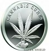 5 Oz .999 Pure Silver Shield Proof Cannabis Cures Members Only Round Coin Coa