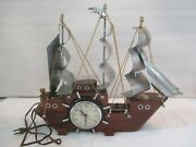 Vintage United Clipper Ship Cherry Wood Electric Clock 811 Lights Up Working