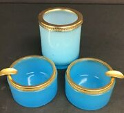 Vintage Blue Opaque Glass 3-piece Smoking Set, Ashtray With Gold Rims