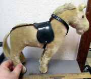 Vintage Large Toy Kids Horse, Real Horse Hair Tail, Leather Saddle And Straps