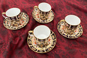 Stunning Set Of 4 Antique Royal Crown Derby Demitasse Cups And Saucers Imari 2451