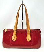 Louis Vuitton Rosewood Avenue Red Vernis Leather Small Tote Hand Bag Authentic