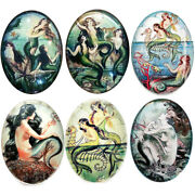 6pc Lot Victorian Art Deco Mermaids Glass Cameo Cabochon Jewelry Supply Vintage