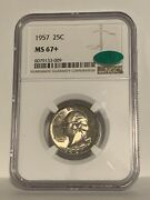 1957 25c Silver Washington Ngc Cac Ms67+ Top Pop Collection