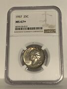 1957 25c Silver Washington Ngc Ms67+ Top Pop Collection