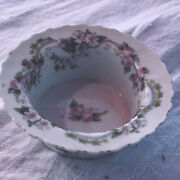 Theodore Haviland Limoge Delicate Pink And Green Flowers Ramekin Marked Chip/crack