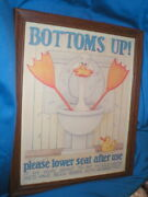Bottoms Up Sign Duck On Toilet Lower Toilet Seat Vintage Sold As Is As Shown