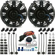 Dual 7 Inch Electric Fans Adjustable Temperature Thermostat Wiring Switch Kit