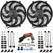 Dual 14 Inch 120w Electric Fan Radiator Push-in Probe 180and039f Thermostat Wire Kit