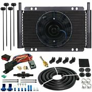 15 Row Engine Transmission Oil Cooler Fan 6an In-hose 180f Thermostat Switch Kit