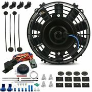 7 Inch Electric Trans Cooling Fan Adjustable Thermostat Temperature Switch Kit