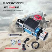 13000lbs Electric Winch Synthetic Rope 12v Towing Truck Suv Off Road 12000lbs