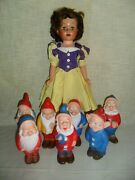 1958 Snow White And Seven Dwarves Doll Disney Deluxe Reading Topper Toys Rare