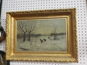 Antique Oil Painting Deer In Snow Field Under Glass Rare Collectible Framed Rare
