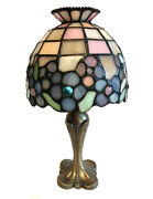 Partylite Stained Glass Hydrangea Flower Lamp Tealight Candle Holder, 11 Inches