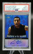 2012 Leaf Metal Damian Lillard Faces Of The Game Blue /25 Auto Rc Psa 9 Mint 🔥