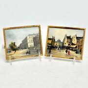 Two 2 Antique European Miniature Paintings On Copper Late 19th/20th C