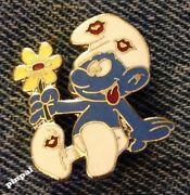 Smurf Brooch Pinwith Flower And Kisses1980 Vintage Cloisonneby Peyonos