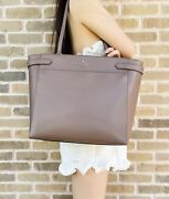 Kate Spade Staci Laptop Tote Triple Compartment Leather Cityscape Taupe
