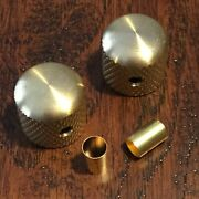 Unplated Raw Brass Guitar Knobs / Dome / Knurled / Set Screw / Fender / Cts Pots