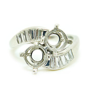 Old Vintage Platinum Bypass Mounting Ring With Diamonds