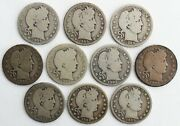 10 Coin Lot 1909 D Minted Only Silver Barber Quarters 25c Us Coins Denver Ac