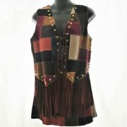 Womens Xs Vintage 70s Suede Patchwork Fringed Vest A Line Mini Skirt Gogo Outfit