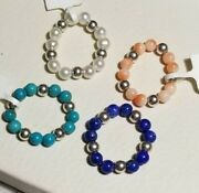 Set Of 4 Qvc Sterling Silver Bead Ball Coral Turquoise Flexible Stretchy Rings