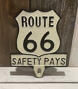 Route 66 Safety Pays License Plate Fob Antique White Hot Rod Collector
